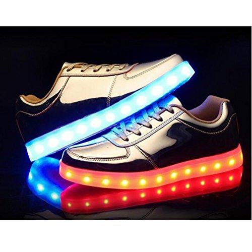 (Present:kleines Handtuch)JUNGLEST® 7 Farbe Lackleder High Top USB Aufladen LED Leuchtend Sport Schuhe Sportschuhe Sneaker Turnschuhe für Unisex-Erwachsene Golden