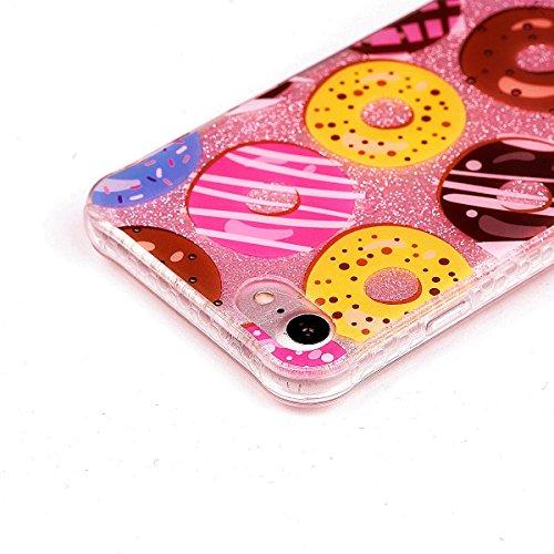 Beiuns pour Apple iPhone 7 (4,7 pouces) Coque en Silicone TPU Housse Coque - YT010 Roses et crâne YT012 Beignets colorés
