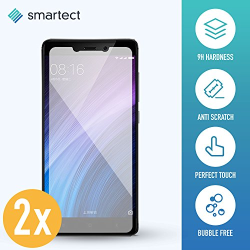 SmarTect 2X Protector de Pantalla de Cristal Templado para Xiaomi Redmi 4X Lámina Protectora Ultrafina de 0,3mm | Vidrio Robusto con Dureza 9H y Antihuellas Dactilares