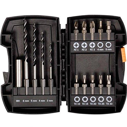 """Projahn 19398 Bohrer & Bit Satz , handliches Kombi Set speziell für Akku-Bohrmaschinen zum Bohren und Verschrauben , geeignet für Holz , Stabile ABS-Kunststoff Box , 6,3 / 1/4\"""" Bit Aufnahme , 15-tlg."""