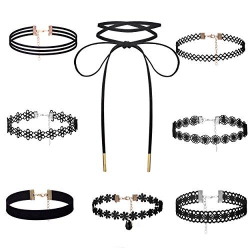 BE STEEL Besteel 8 Pro Set Choker Samt Halsband Spitze Halskette Samtkropfband für Damen und Mädchen Schwarz verstellbar