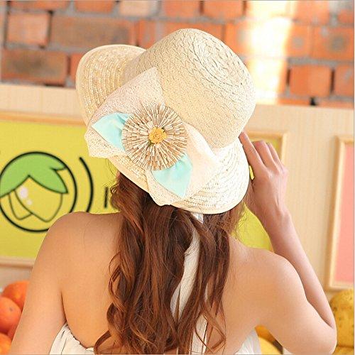 Surker Femmes Anti-UV / soleil paille respirante Sun Hat Beige 9
