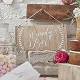 Ginger Ray Holzschild Candy Bar Hochzeit 12x25cm