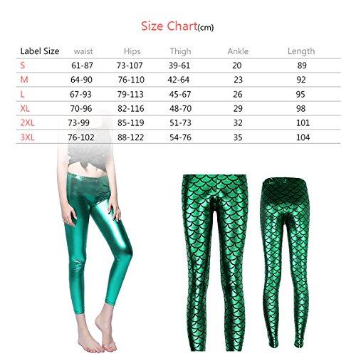 Damen Leggings Hose Fish Scale Mermaid Strumpfhose Faux Leder mit Pailletten Silber