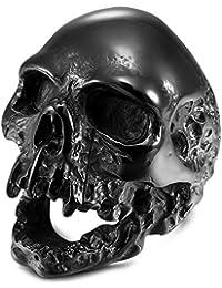 MENDINO - Anillo de Acero Inoxidable para Hombre, diseño de Calavera gótica, Estilo Vintage, Color Negro Envejecido, Incluye 1 Bolsa de Regalo de Terciopelo