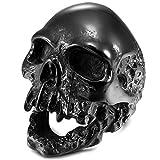 mendino Herren Edelstahl Ring Totenkopf Gothic Biker Vintage antik schwarz Farbe Poliert, 1?x Samtbeutel - 57 (18.1)