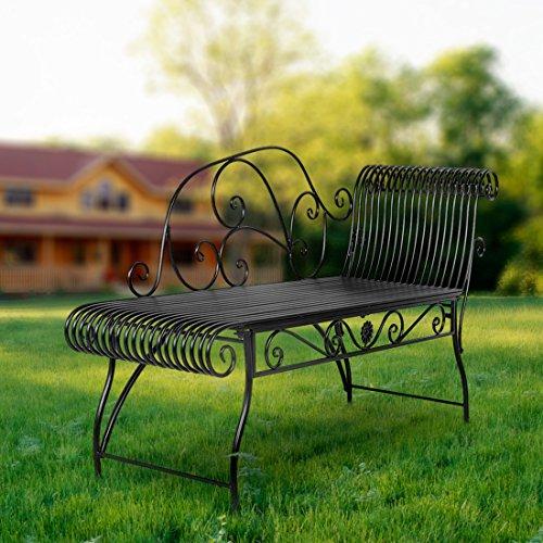 HLC Metall Klassische Bank Gartenbank Liegestuhl aus Eisen 110*44*85 CM - 2