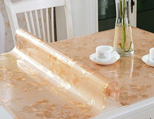 Nappes Plaque en Cristal PVC Imperméable À l'huile Résistant À Haute Température Table À Thé Mat en Plastique Givré Transparente (1.5mm) (Couleur : Or, Taille : 65 * 120cm)