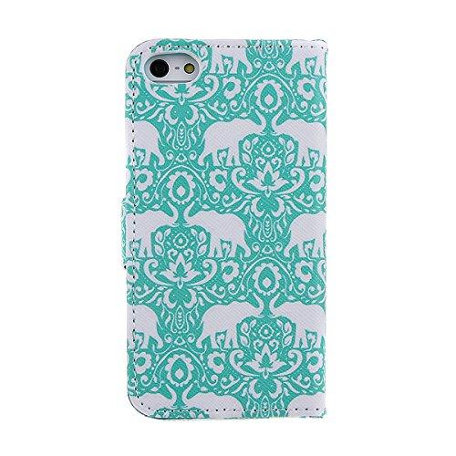 iPhone 5, iPhone 5S Coque, Kaka Boutique iPhone 5/5S Fine Corps plein colorés Rabat style livre Coque souple en silicone et fermeture aimantée à rabat avec fonction support carte compartiments Étui de klassische Elefanten