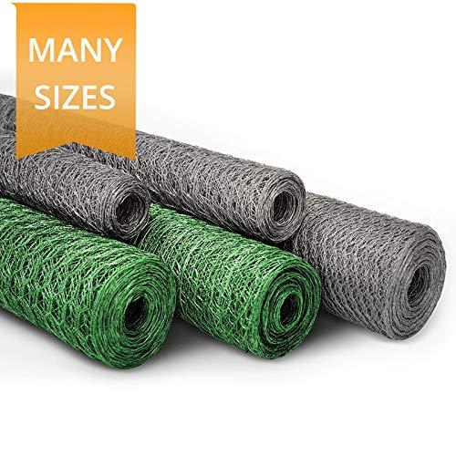 Casa Pura® Drahtgitter-Rolle, Sechskant-Draht, in verschiedenen Längen und Höhen verfügbar, erhältlich in verzinkt und PVC-beschichtet, silber, 75 cm x 25 m (13mm)