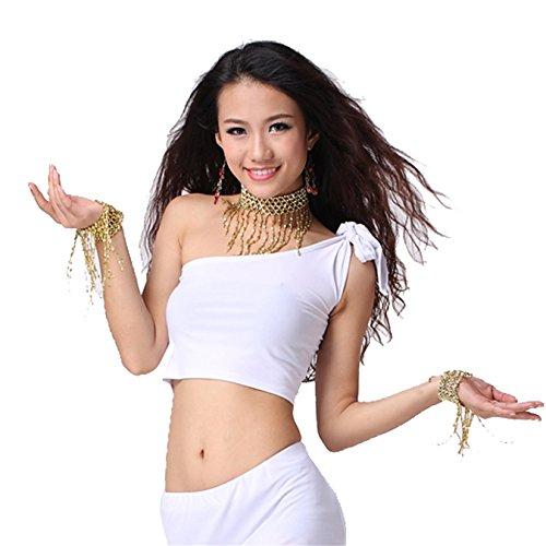 Dance Tops Bauchtanz Costume Top Bra Blouse One Shoulder Bauchtanz Tops Dark Pink