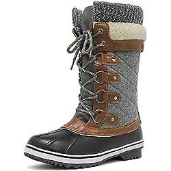 Dream Pairs Monte_02 Mujer Botas de Nieve Invierno Impermeable Antideslizante Cordones Pantorrilla Botas Negro Gris 41 EU/10 US