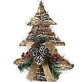 WeRChristmas Pre-Lit de ratán LED Árbol de Navidad Decorado con piñas y Bayas, Nieve pastillaje, 33cm