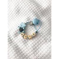 Schnullerkette | mit anpassbaren Name | blau | soothie Schnuller Clips |