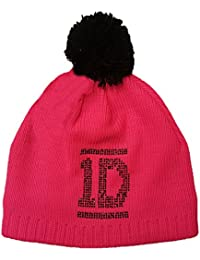 1D One Direction Official Licensed Bobble Hat Winter Beanie Neon Pink One Size