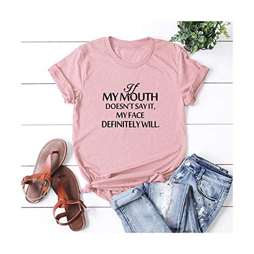 Plus Size Camiseta Mujer Casual Women Cotton T-Shirt My Mouth Letter Print Short Sleeve O-Neck Loose Tee Oversized Tops Pink XXL -