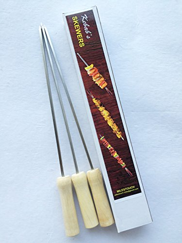 Milestouch 3- Skewers Stainless Steel with Wood handle for Tandoor (Set of 3,Silver)