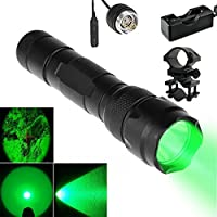 UniqueFire 502B 100 Yard RED LED Coyote Hog Hunting Light Tactical Flashlight Torch GREEN Light Hunting Flashlight Set + Pressure Switch + Barrel Mount + Charger For Hunting Fishing by UniqueFire