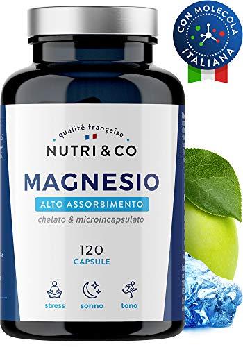 Magnesio+Vitamina B6 Bio-Attiva   120 Capsule Magnesio Malato & Microincapsulato   Assorbimento Supremo a Bisglicinato (No Stearato & Citrato)   Alto Tenore (300mg Mag Elem/3xDì)   NUTRI&CO