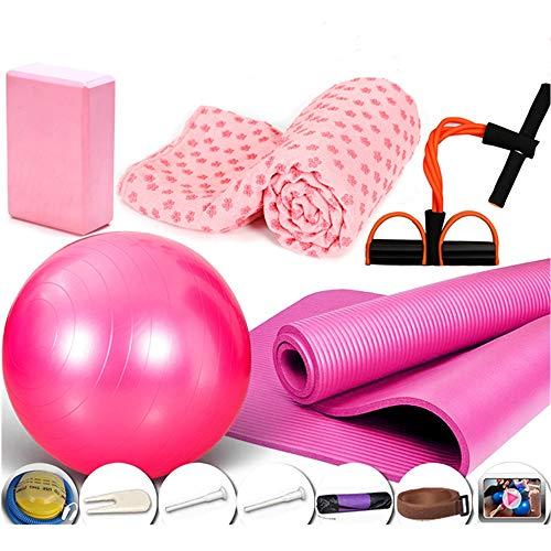 ZHAOZC Yoga Set Kit Yogamatte mit Yogablöcken Yogamatte Handtuch Yogaball Kostenlose Tragetasche für Übungen Schnelle Pumpe Elastisches Zugseil -