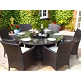 Sidney Grey Rattan Garden or Conservatory Round Dining Table and 6 Chairs Furniture Set