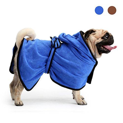 Mikrofaser Hund Bademantel, schnell trocknend schnell saugfähigen Haustier Bademantel Katze Handtuch Mantel Tasche und trocknenden Feuchtigkeit Pyjamas (XS S M L XL, blau braun) von Zellar (Schnell Trocknende Gewebe)