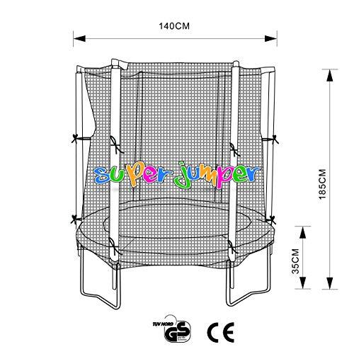 Super Jumper Combo Trampolin Ø 140 cm | Gartentrampolin | Outdoor Trampolin | GS und TÜV Rheinland Zertifiziert | Sicherheitsnetz mit Stabilitätsring | Belastbarkeit 100 kg