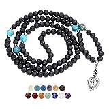 JSDDE Buddhist Mala Prayer Beads 108 Meditation Healing Lava Bead Diffuser Bracelet/Necklace Zircon Cage Locket Pendant W/ 6 Dyed Lava Stones & 7 Chakra Gemstones