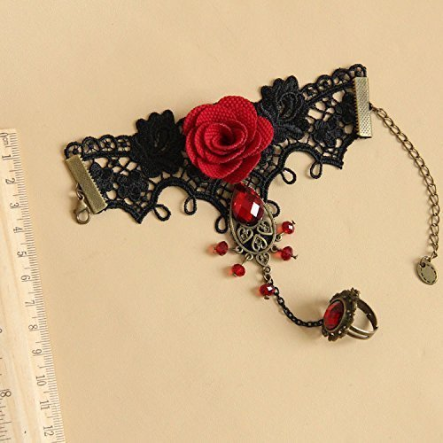 Five Season 1pcs Handmade Retro Black Lace Vampire Slave Bracelet With Fabric Flower And Red Resin Gothic Style by Five ()