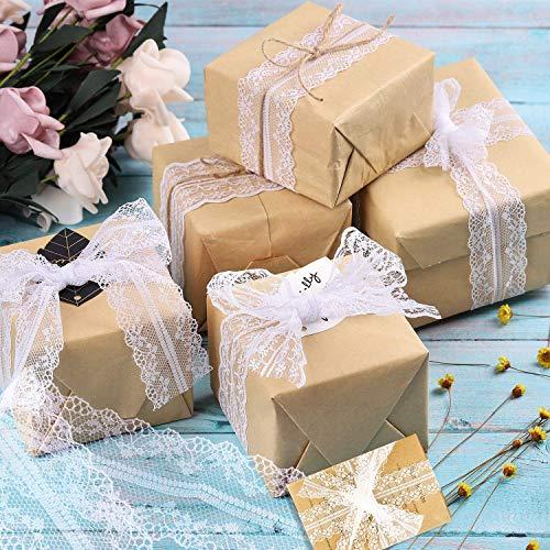 BSET BUY 60M Vintage Spitzenband Borte Spitzenbordüre Weiß 3 Verschiedene Muster Spitze für Hochzeit Tischdeko Basteln Geschenkband Kraftpapier