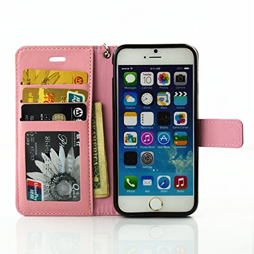 Coque iPhone 6S,Coque iPhone 6,Etui iPhone 6S, Etui iPhone 6, ikasus® iPhone 6/6S Étui Housse en Cuir Case, Fleur Gaufrage de papillon Fée Angel Girl avec Shiny Glitter strass cristal de diamant Etui  Diamant Flower Fée: Rose
