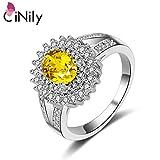 CAXYBB Ring Versilbert Erstellt Gelben Stein Zirkonia Schmuck für Frauen Hochzeitstag Ring Größe 6-9 NJ31