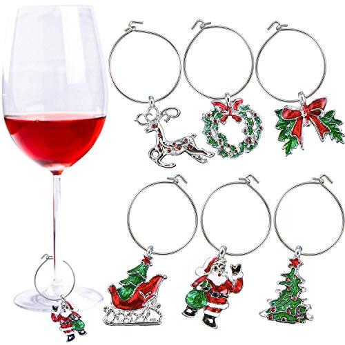 LuLyLu 6 Stück Weihnachts-Glas-Charms Motto Party Weinglas Anhänger Weihnachten Weinringe für Kelch Getränke-Marker 6 Stile by