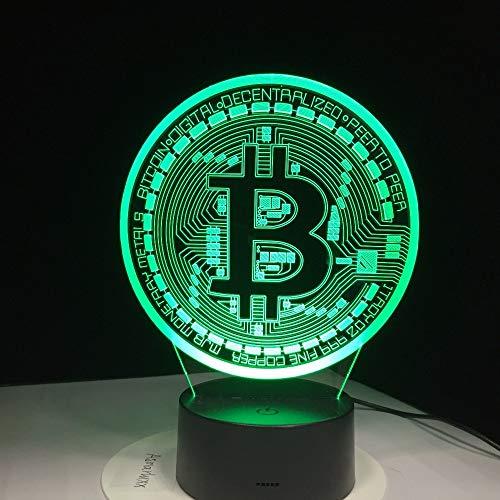 orangeww 3d nachtlicht touch tisch schreibtischlampen / 7 farben lichter/acryl flach & abs basis & usb ladegerät/bitcoin zeichen Leder Top-panel