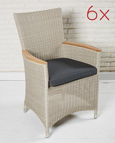 Gartenstuhl Set 6 Stück Gartensessel Armlehnstühle Mit Teak Poly
