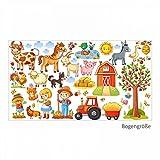 nikima 079 Wandtattoo Bauernhof Traktor Kinderzimmer Pferd Kuh Katze Hund - in 6 Größen - Niedliche Kinderzimmer Sticker und Aufkleber Süße Wanddeko Wandbild Junge Mädchen Größe 1000 x 560 mm