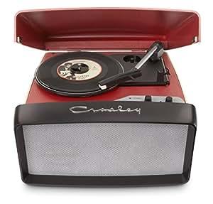 Crosley Collegiate Portable Tragbarer Vinyl Turntable Plattenspieler mit drei Geschwindigkeiten und Eingebauten Lautsprechern, USB-fähig (EU-Netzstecker) - Rot