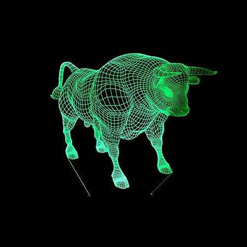 Neue bull 3d lampe led 7 farbwechsel fernbedienung licht acryl stereo vision led nachtlicht power kinder lampe