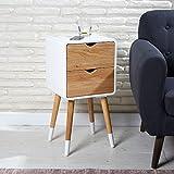 Wholesaler GmbH Vintage Nachttisch 30 x 35 x 70 cm mit 2 Schubladen aus Holz in weiß im skandinavischen Retrolook - Telefontisch Beistelltisch Nachtschrank