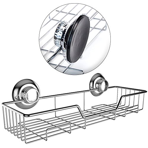 G-Lok Wide Shower Shelf Caddy Storage Basket Shampoo Conditioner Holder w Vacuum Suction Cups No Hooks No Drilling - Stainless Steel