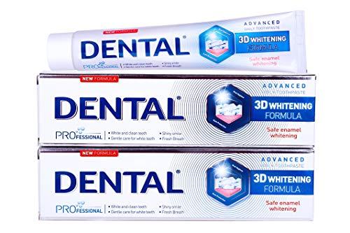 DENTAL 3D Zahnaufhellung Zahnpasta | Zähne bleichen | Zahncreme für weiße Zähne | Zahnreinigung Zähne schutz | Professional Teeth Whitening Toothpaste | PREMIUM Teeth Whitener | Packung 2 x 75ml -