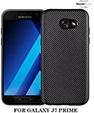 WOW Imagine Premium Heat Dissipation Carbon Fibre Impact Resistant Ultra Slim Profile With Anti-Dust Plugs Back Case Cover For SAMSUNG GALAXY J7 PRIME - Midnight Black