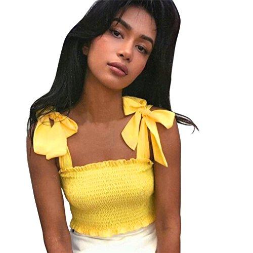 Schulter Crop Tops Solide Bandage Ärmellos T-Shirt Frauen Casual Bluse Plissee Tunika Weste Bralette Halter Blouse Hemd Oberteile Tops Kurz Partykleidung Vest (Gelb, S) (Gelb Korsett)