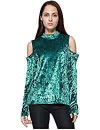 SODIAL(R) Women's New Fashion Off Shoulder Velvet T-Shirt Elegant Ladies Casual Tops Solid Color O-neck Long Sleeve Party Blouse Pullover(Blue, M/US-4/UK-8)