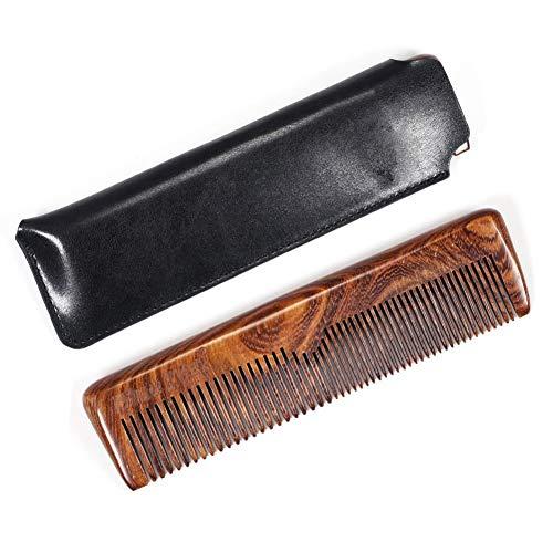 Bobora Handmade grob und fein gezahnt Taschenkamm für Männer Holz Bartkamm Anti Static Moustache Comb Holz Sandelholz mit Ledertasche für Männer