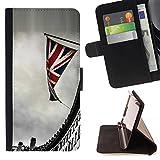 FJCases Londres Inglaterra Reino Unido Postal Vista Carcasa Funda Billetera con Ranuras para Tarjetas y Soporte Plegable para Samsung Galaxy Alpha