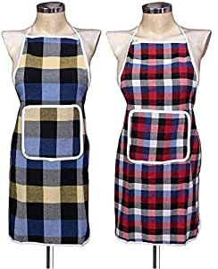 GLUN Waterproof Cotton Kitchen Apron with Front Pocket (Multicolour) Set of 2