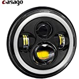 Casago CS7IH1P 7 Inch Round LED Headlight with Stylish Halo Angle Eyes & High/Low Beam Headlamp DOT Approved for Jeep Wrangler Harley Davidson, Cars and Motorcycles (75W, Pack Of 1)
