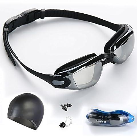 SPARKSOR Lunettes de natation en silicone et bonnet de bain (pince-nez, des bouchons d'oreille, étui de protection, mouchoir pour sécher). Comprend une protection contre les UVA et un système de telle sorte que pas de lunettes de nébulisation - Bonnet de bain ergonomique - Convient hommes et femmes - Garantie à vie 100%