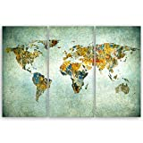 ge Bildet® hochwertiges Leinwandbild XXL - Weltkarte Retro - Weltkarte Leinwand - 120 x 80 cm mehrteilig (3 teilig) 2202 I